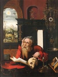 saint jérôme dans son cabinet d'étude by joos van cleve