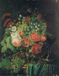 nature morte au bouquet de fleurs, raisins et nid d'oiseau sur un entablement by johannes hendrik fredriks