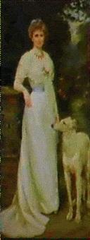 helfigursportraet af en ung dame i lang lys kjole med borzoi (russisk mynde) i et parklandskab by charles goldsborough anderson