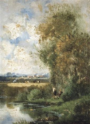 paysage estival avec pêcheurs by jules dupré