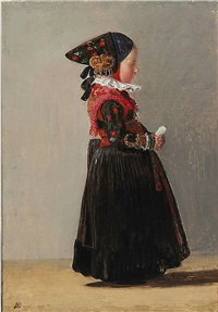a little girl in her national costume from amager island, presumably grith geert jansensdatter by johann julius exner