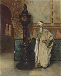 an arab elder in a palace by rudolf ernst