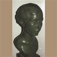 head of woman with cropped hair in back by eleanor mellon