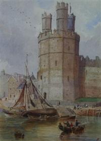 caernarfon dock and the castle's eagle tower with boatmen, passengers and figures ashore by charles w. fothergill