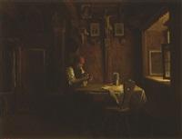 bäuerin beim zinnputzen in der bauernstube by peter baumgartner