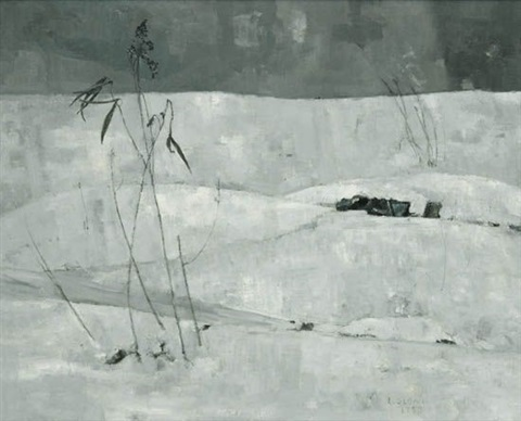 untitled winter landscape by louis b sloan
