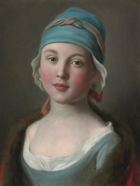 portrait of a russian girl in a blue dress and headdress by pietro antonio rotari
