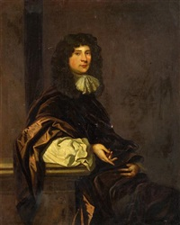 a portrait of a gentleman, seated, wearing a brown robe, his arm resting on a pedestal by john greenhill