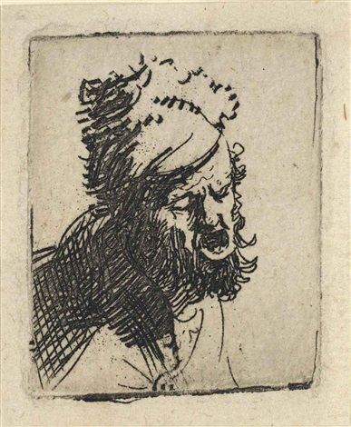 head of a man in a fur cap crying out by rembrandt van rijn