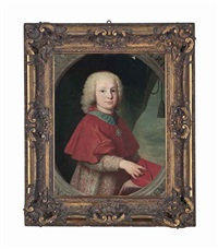 portrait of a young cardinal, half-length, in clerical robes, wearing royal french order of the st. esprit, holding a biretta by anton raphael mengs