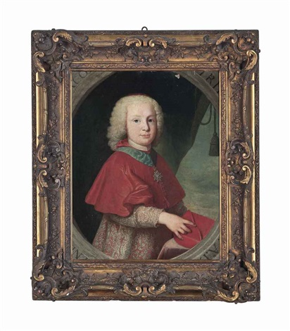 portrait of a young cardinal half length in clerical robes wearing royal french order of the st esprit holding a biretta by anton raphael mengs