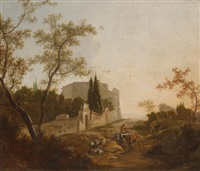 a landscape with a rider near a villa by jan snellinck iii