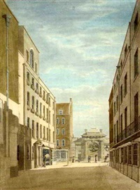 the entrance to spring gardens looking towards the phoenix fire-engine-house, old cockspur street by thomas malton the younger