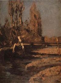 paisaje con árboles y río by fernando fader