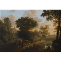 an italianate wooded landscape with shepherds herding their flock and cattle on a path near a ruined tower, a view of a village beyond by abraham van duijnen