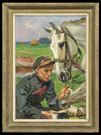 uhlang bandaging horse by woiciech aldabert ritter von kossak