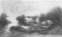 winter scene with figure in farmyard by harry foster newey