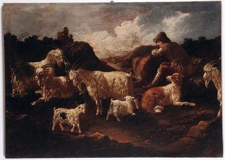 pastore con cane e capre by philipp peter roos