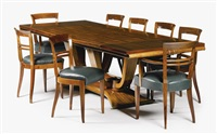 dining table and eight chairs by jules leleu