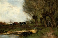 a farmer milking a cow by a ditch by gerardus johannes roermeester