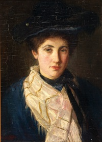 portrait of a lady wearing a hat by solomon garf
