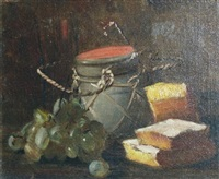 still life with grapes, a jar and sweet breads by alfred everett smith