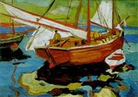 fischerboote im hafen by gerassim semenovich golovkov