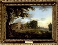 view of chelsea farm with the thames and battersea bridge by hendrik frans de cort