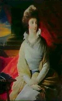 ung pige i hvid kjole med gronlig sjal,           siddende ved sojle med rodt draperi by lucille foullon