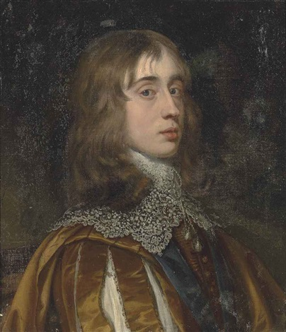 portrait of a gentleman bust length in a rust slashed doublet and lace collar wearing the order of the garter by sir peter lely