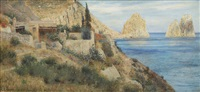 coastal scene from capri with the faraglioni by max merker