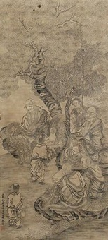 罗汉图 (inscribed by shan guoqiang) by ding yunpeng
