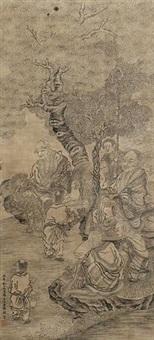 罗汉图 (inscribed by shan guoqiang) by ding yunpeng