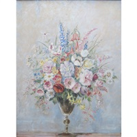 still life with flowers in a vase by max kuehne