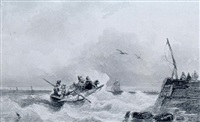 sailors in a rowing boat on a choppy sea by frans breuhaus de groot