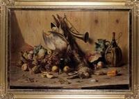 martwa natura z owocami i trofeami mysliwskimi by anton raufer-redtwitz