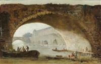 vue fantaisiste du louvre à travers l'arche d'un pont by hubert robert