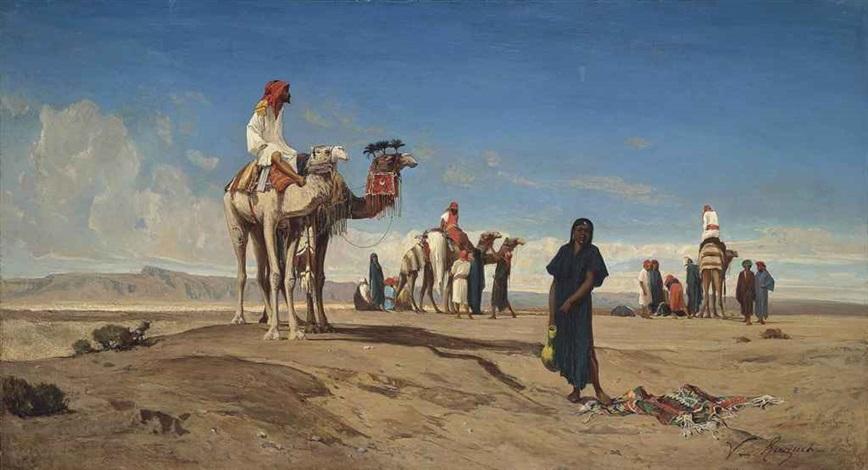 a caravan in the desert, libya by victor pierre huguet