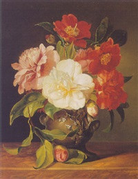 camelias in a tin vase by alfredo de mellis