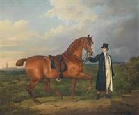 junger mann mit seinem reitpferd by adam