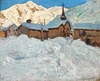 village sous la neige by alfred swieykowski