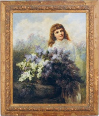 a girl with a bouquet of lilacs in a landscape by elizabeth hubbard