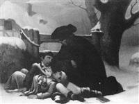 prélat réconfortant deux enfants assis dans la neige by guillaume-alphonse (harang) cabasson