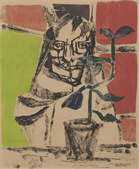 figure with potted plant by robert colquhoun