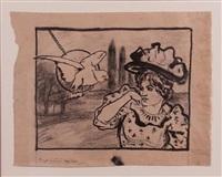 femme au perroquet by armand rassenfosse