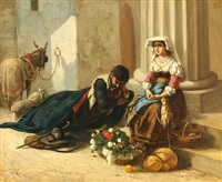 a roman flower seller and a resting donkey rider by david jacobsen