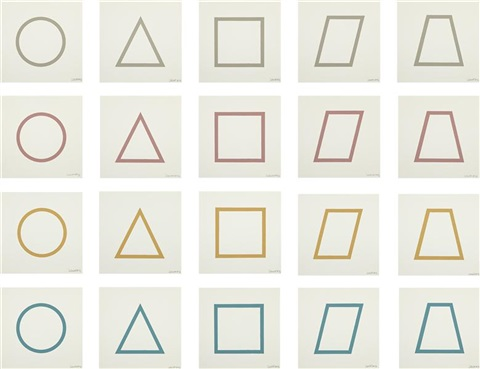 five geometric figures in five colors twenty prints four colors 20 works by sol lewitt