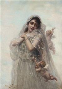 portrait de jeune femme et angelots by edouard bisson