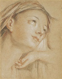 the head of the virgin, looking up to the right, with a subsidiary study of a hand by charles-antoine coypel