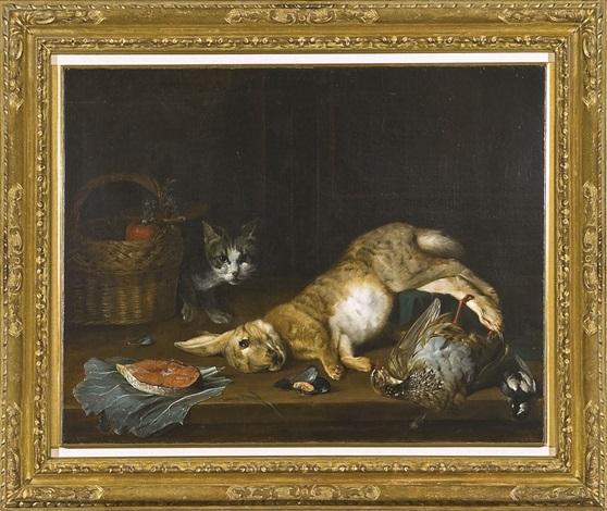 natura morta con lepre volatili trancio di salmone e un gatto by jan fyt